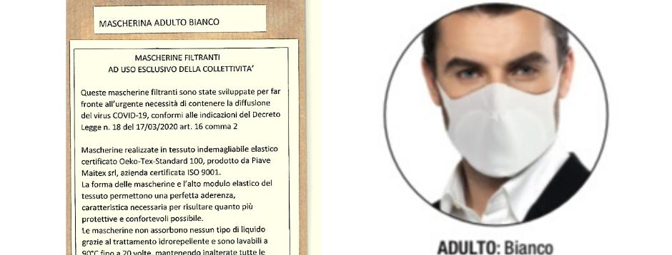 Confezione 1 Mascherina Lavabile ADULTO - Bianco