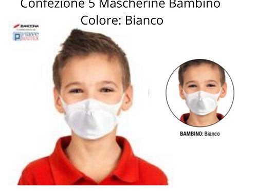 Confezione 5 Mascherine Lavabili - BAMBINO - BIANCO