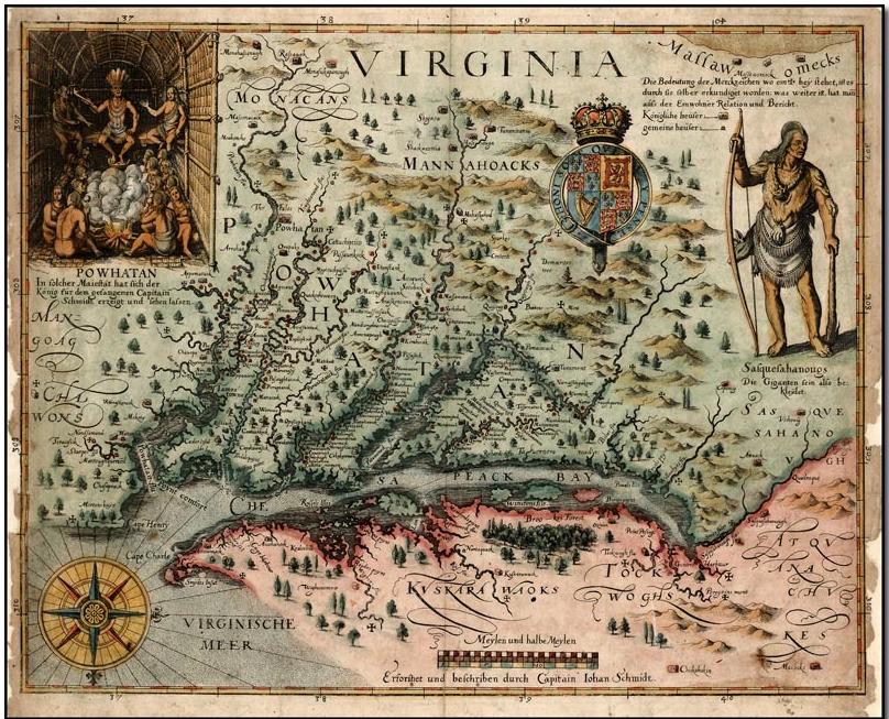 A map of Virginia, USA.