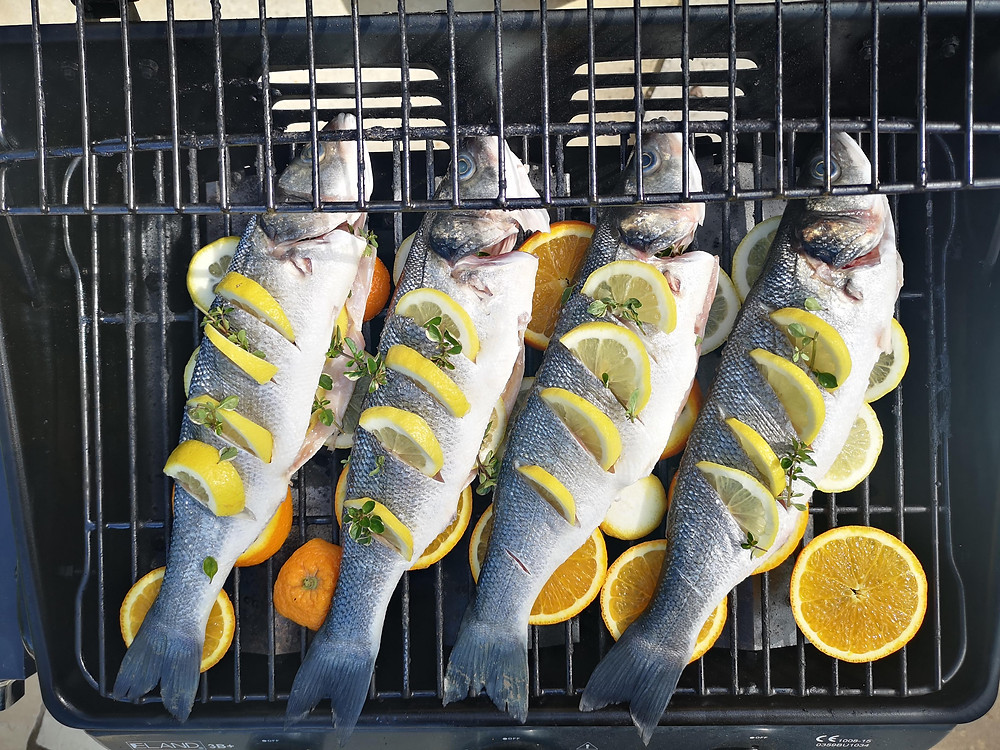 Whole Sea Bass On The BBQ