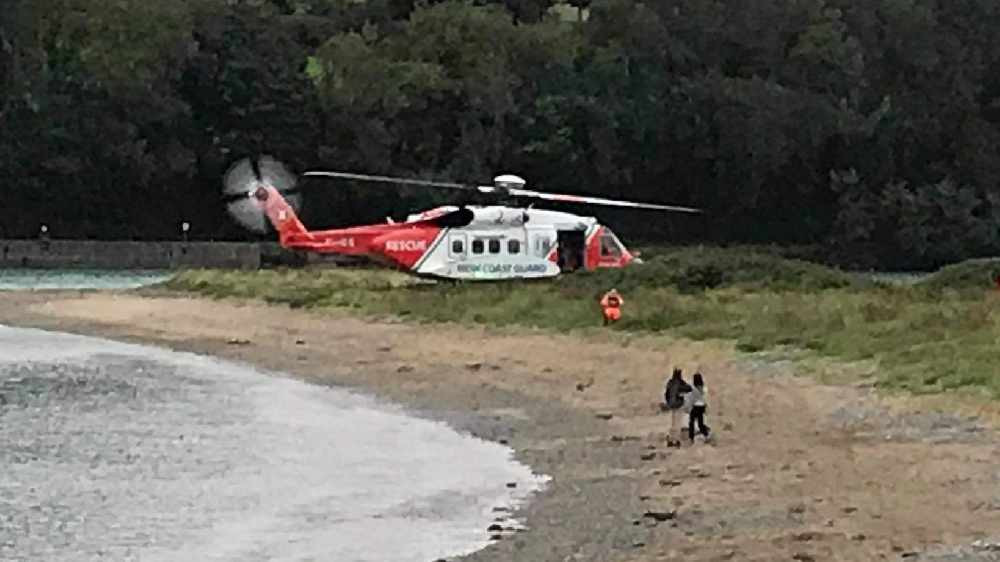 The Coast Guard Helicopter during the rescue in Fountainstown.
