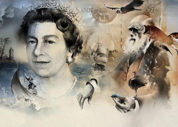 British pound. Elizabeth II and Charles Darwin