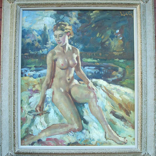 Nude girl, oil on canvas, Wilfrid Gabriel de Glehn