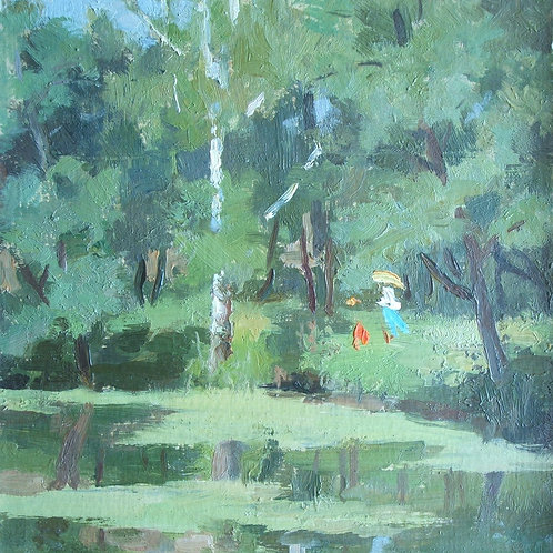 'Figures by a lake, spring' Oil on card.
