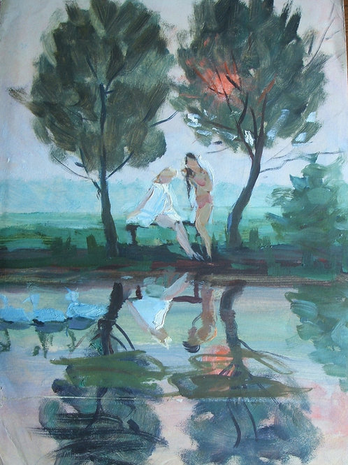 'Bathers at dusk'. Oil on card.
