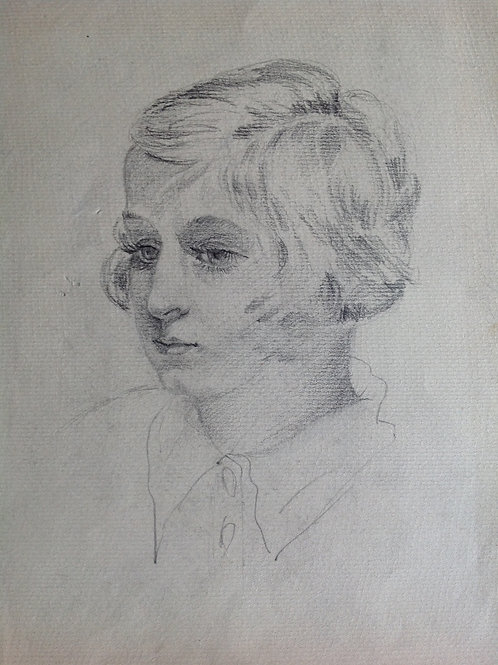 Black and white drawing of a girl by Russian artist, Ovsyannikova Evgenia. On pa