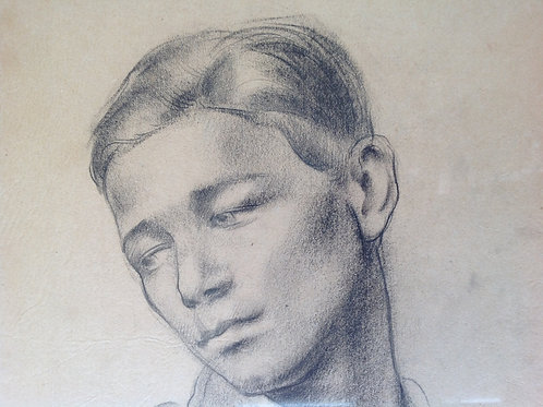 Drawing of Francois Masson (painter moutaineer and skier) by Richard Kitchin