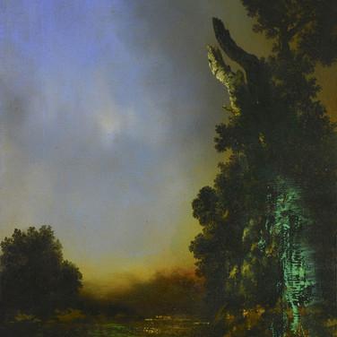 'Dark study for Bargain Buddha at Chadderton Asda' oil on canvas  by Alan Rankle. 50 x 40 cms.