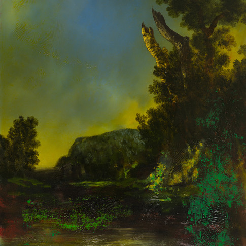 'Enigma Ruisdael and Fairlight 2017' Oil on canvas 92 x 76 cms