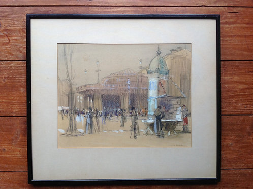 William Ainsworth Wildman. Parisian street scene, charcoal & wash