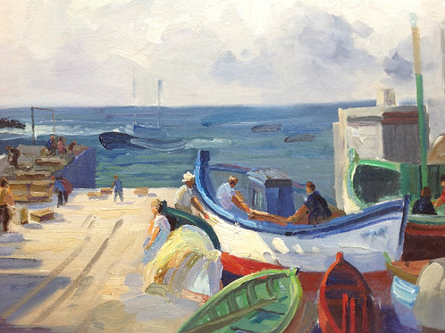 'Loading the nets' by Gordon-Clifford-Barlow-1913-2005. Oil on canvas.