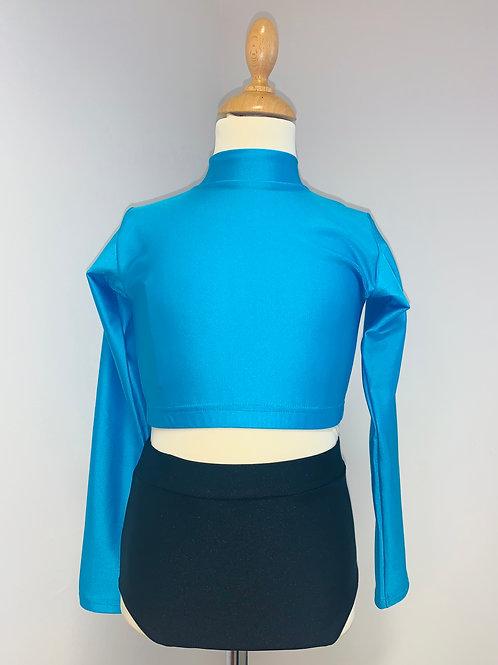 Children's long sleeved keyhole crop blue