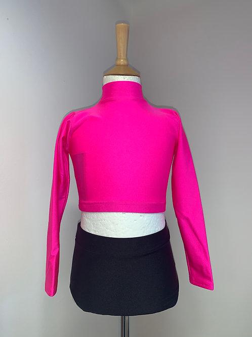 Children's long sleeved keyhole crop pink