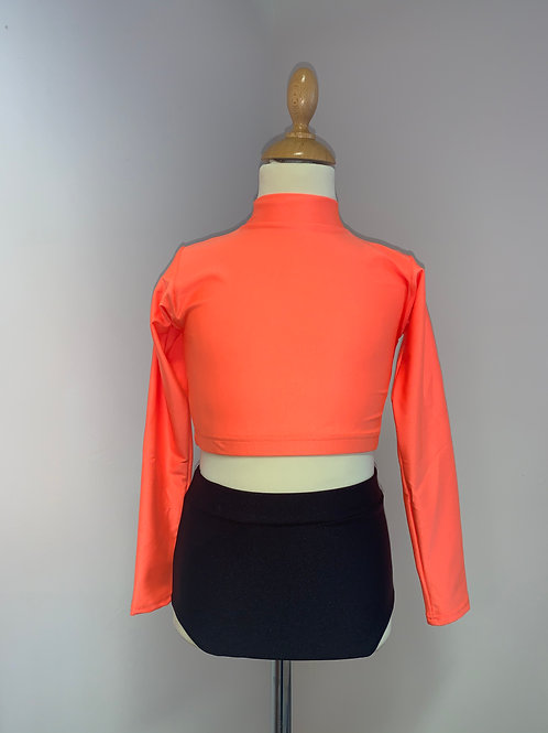 Children's long sleeved keyhole crop orange