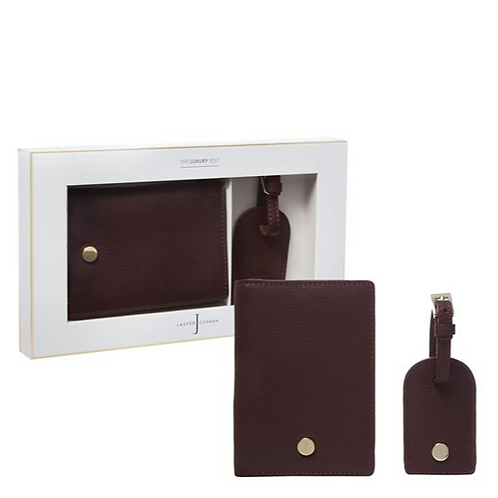 Dark Red Leather Passport Holder and Luggage Tag
