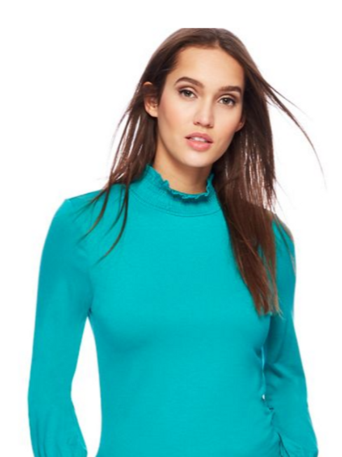 Red Herring - Plain Shirred Top - Turquoise
