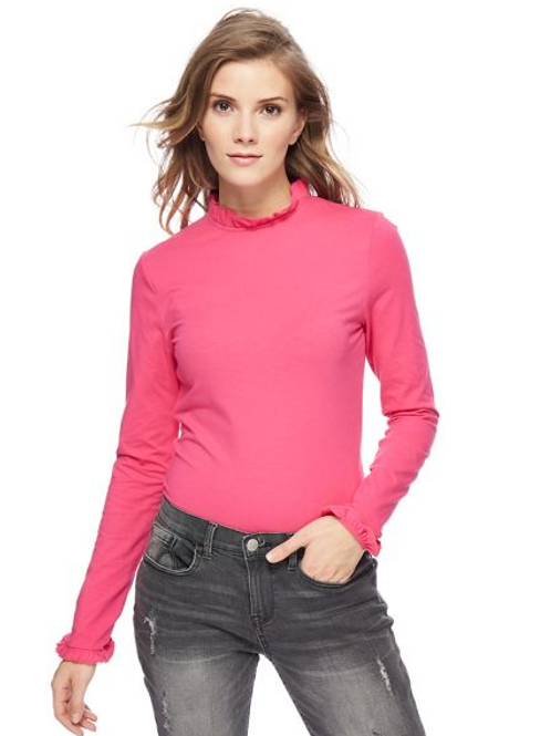 Red Herring - Pink Mini Frill Rollneck