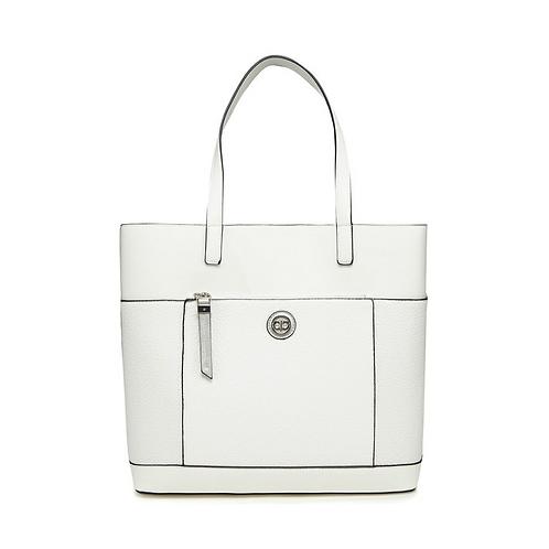 White Zip Front Shopper Bag