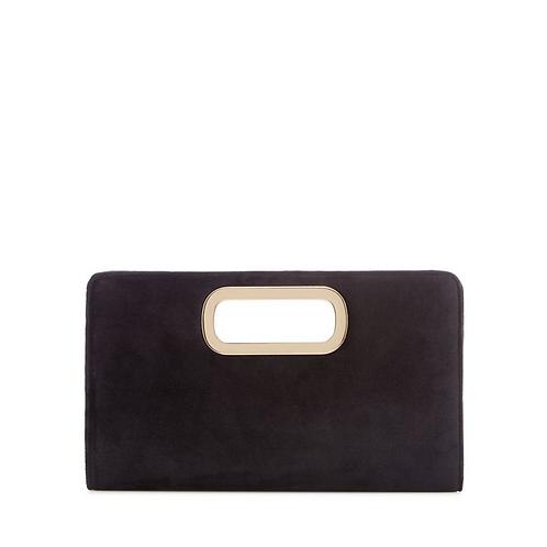 Call it Spring Black Velvet Clutch Bag