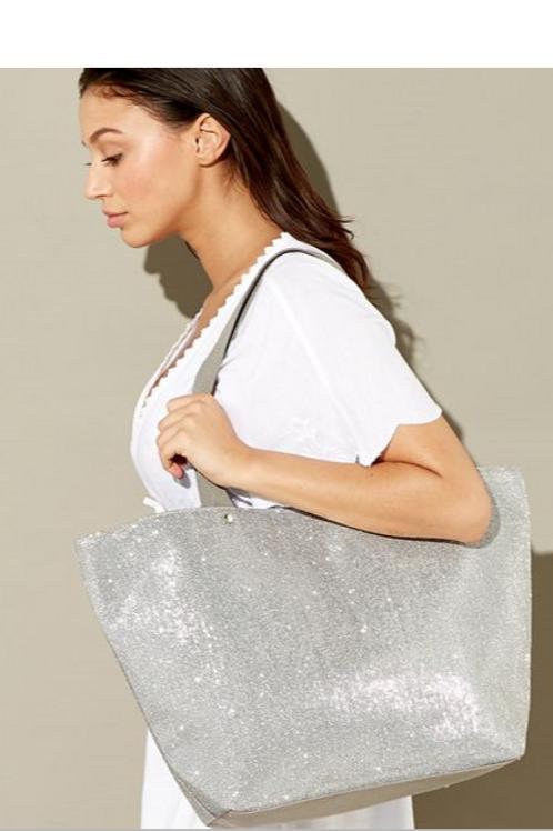 Silver Glitter Beach Bag