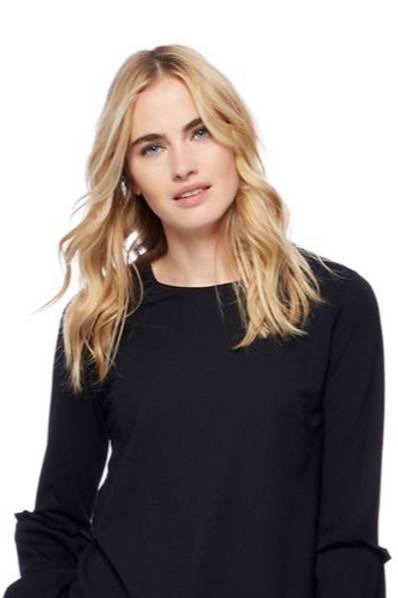 Red Heering - Black Balloon Sleeve Ponte Top