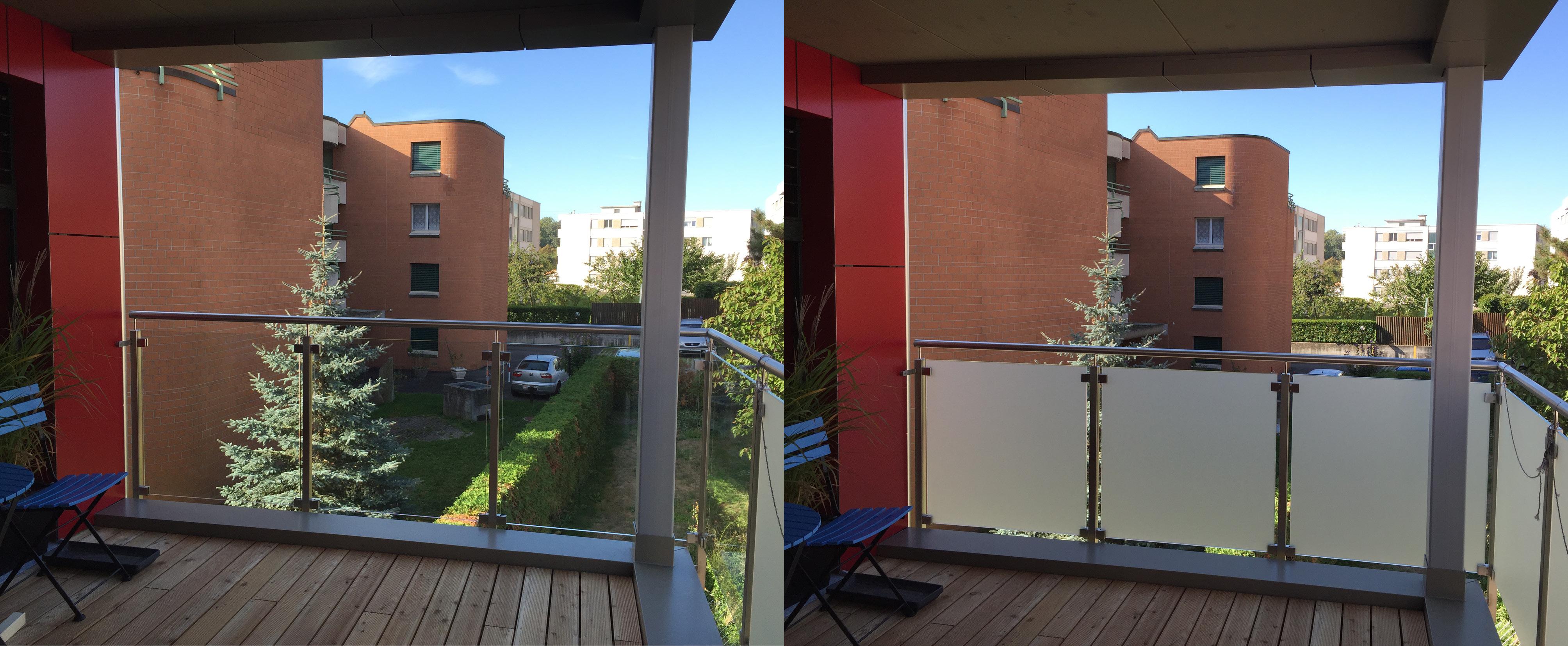 Film opaque discrétion sur balcon