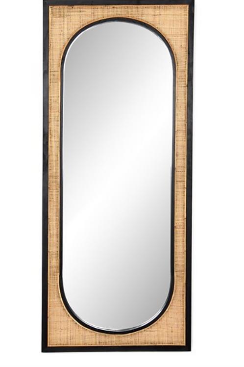 Black and Rattan Floor Mirror