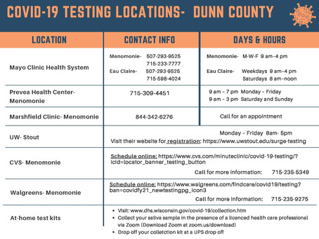 Dunn County COVID-19 Testing Sites