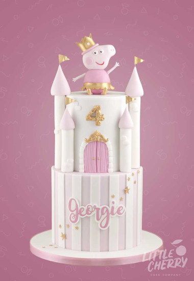 Peppa Castle Stripe Cake