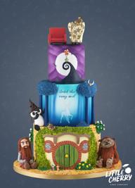 Movie Mash-Up Wedding Cake