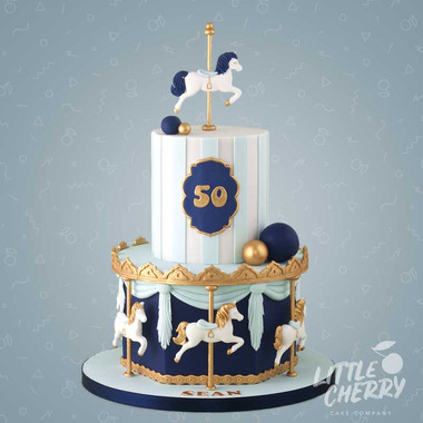 Navy and Gold Carousel Cake