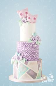 Pastel Skull Kitty Wedding Cake
