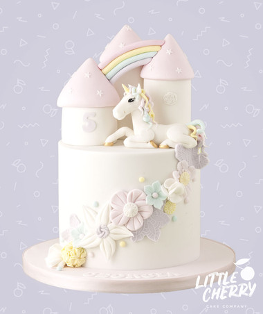 Pastel Unicorn Castle Cake