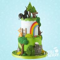 Dog and Cat Rainbow Wedding Cake