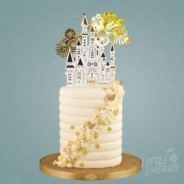 Gold and White Disney Castle Cake