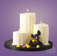 Halloween Candle and Bat Cake