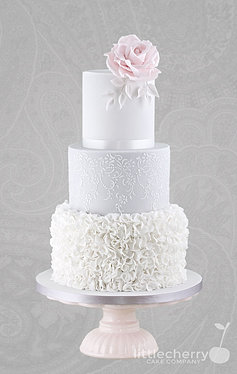 Little cherry cake company wedding cakes fairytale castle wedding cake grey and pink floral drop lace junglespirit Choice Image