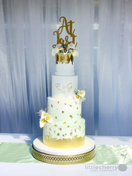 Mint and Gold Leaf Lilly Cake