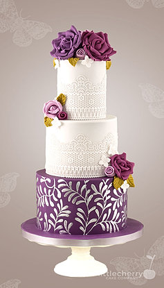 Damson Flowers And Lace Wedding Cake