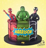 Hulk Spiderman and Venom Cake