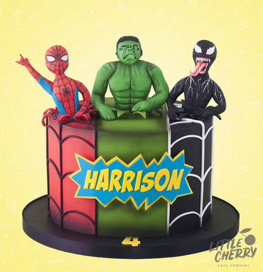 Hulk Spiderman and Venom Cake