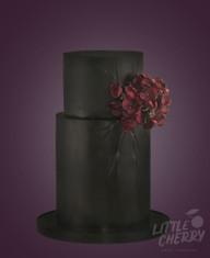 Black 2 Tier Wedding Cake