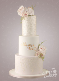Pink and Glitter Always You Wedding Cake