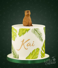 Jungle Leaf Capybara Cake