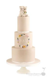 Taupe Teddy Bear Wedding Cake