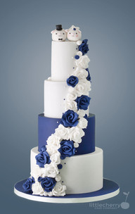 Navy and White Rose Cascade