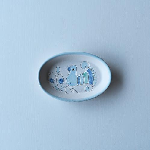 楕円形皿15㎝・サルデーニャ島陶器Ceramica Sarda (水色) セラミック装飾皿