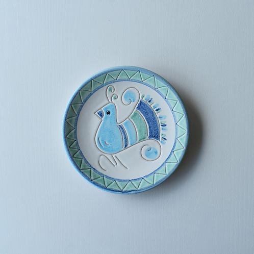 皿16㎝・サルデーニャ島陶器Ceramica Sarda (水色)セラミック装飾皿