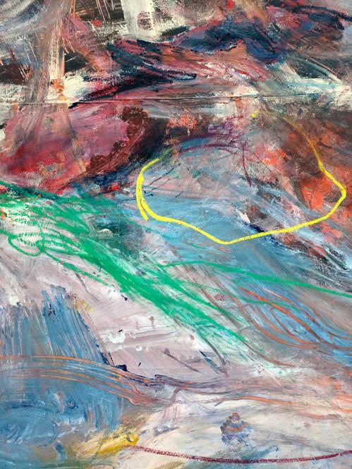 """Detail """"Schwarzer Hund"""" 4x7m, Leimfarbe und Ölkreide auf Leinwand Fabian Gemperle, Andres Weber, Mikki"""