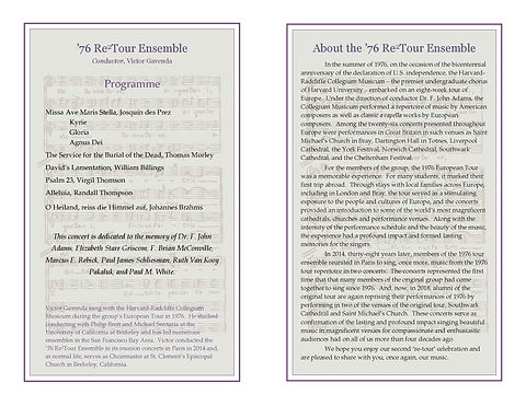 Re2Tour Ensemble Concert Program